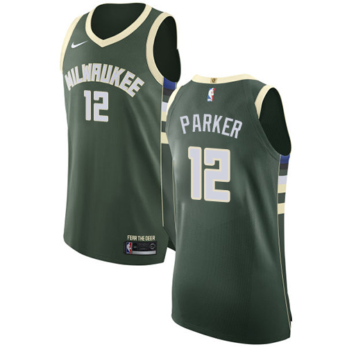 Men's Nike Milwaukee Bucks #12 Jabari Parker Authentic Green Road NBA Jersey - Icon Edition