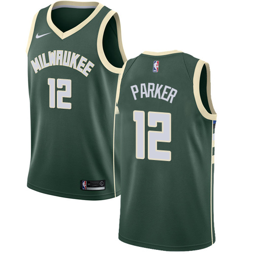 Men's Nike Milwaukee Bucks #12 Jabari Parker Swingman Green Road NBA Jersey - Icon Edition