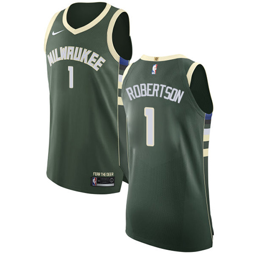 Men's Nike Milwaukee Bucks #1 Oscar Robertson Authentic Green Road NBA Jersey - Icon Edition