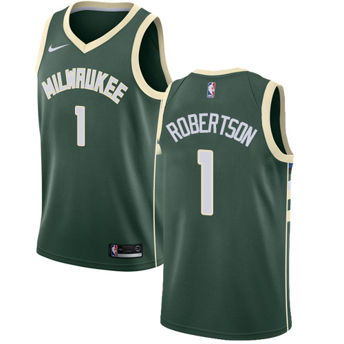Men's Nike Milwaukee Bucks #1 Oscar Robertson Swingman Green Road NBA Jersey - Icon Edition