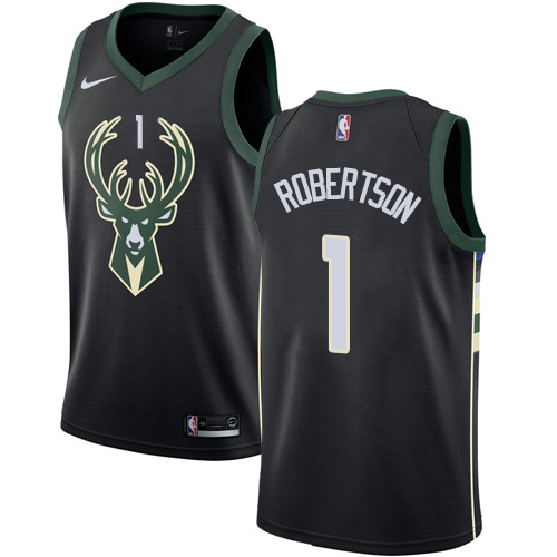 Men's Nike Milwaukee Bucks #1 Oscar Robertson Authentic Black Alternate NBA Jersey - Statement Edition