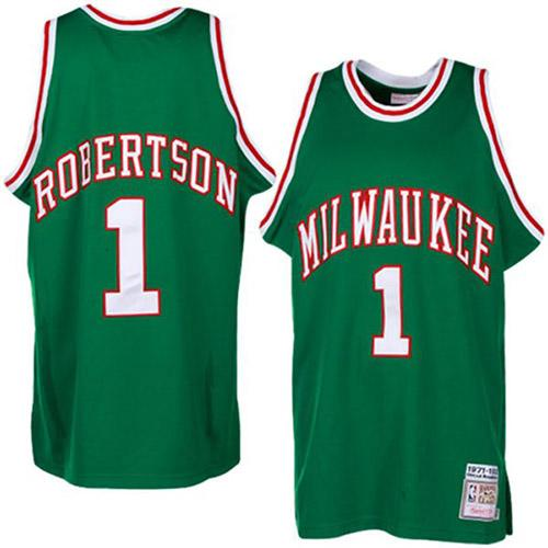 Men's Adidas Milwaukee Bucks #1 Oscar Robertson Authentic Green Throwback NBA Jersey