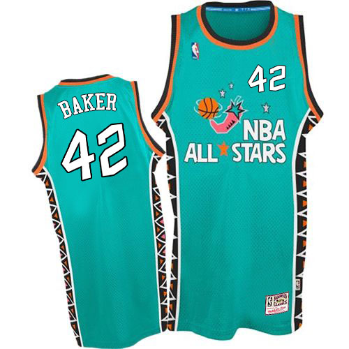Men's Mitchell and Ness Milwaukee Bucks #42 Vin Baker Authentic Light Blue 1996 All Star Throwback NBA Jersey