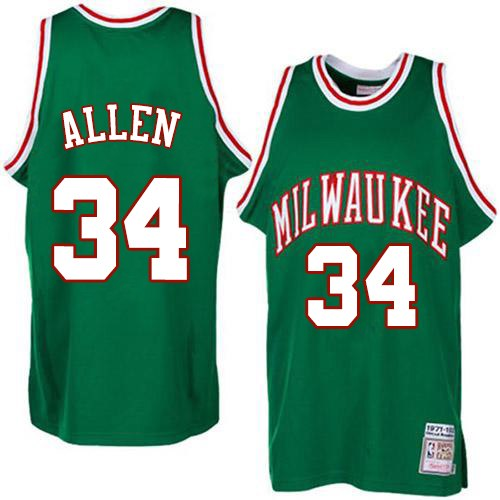 Men's Adidas Milwaukee Bucks #34 Ray Allen Authentic Green Throwback NBA Jersey