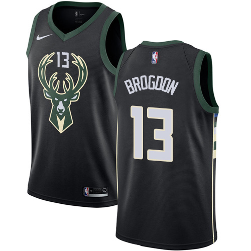 Men's Nike Milwaukee Bucks #13 Malcolm Brogdon Authentic Black Alternate NBA Jersey - Statement Edition