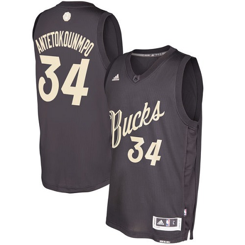 Men's Adidas Milwaukee Bucks #34 Giannis Antetokounmpo Authentic Black 2016-2017 Christmas Day NBA Jersey