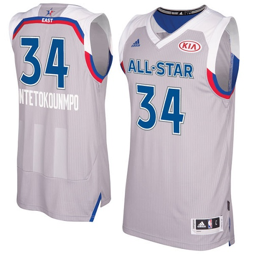 Men's Adidas Milwaukee Bucks #34 Giannis Antetokounmpo Swingman Gray 2017 All Star NBA Jersey