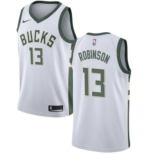 Men's Nike Milwaukee Bucks #13 Glenn Robinson Authentic White Home NBA Jersey - Association Edition