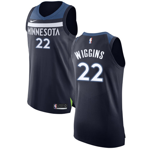 Men's Nike Minnesota Timberwolves #22 Andrew Wiggins Authentic Navy Blue Road NBA Jersey - Icon Edition