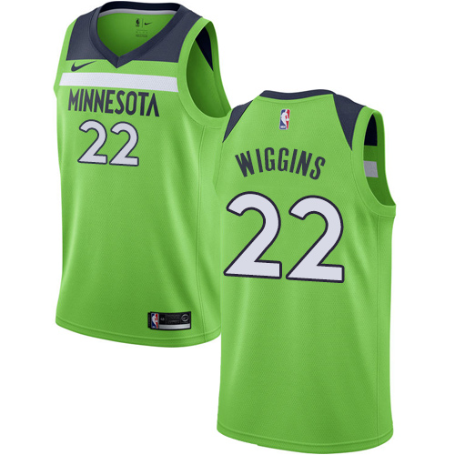 Men's Nike Minnesota Timberwolves #22 Andrew Wiggins Authentic Green NBA Jersey Statement Edition