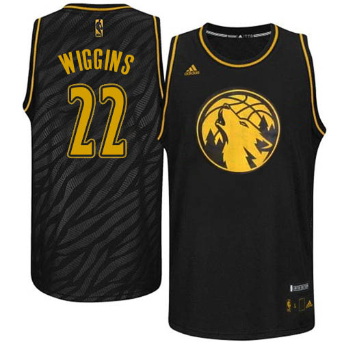 Men's Adidas Minnesota Timberwolves #22 Andrew Wiggins Authentic Black Precious Metals Fashion NBA Jersey