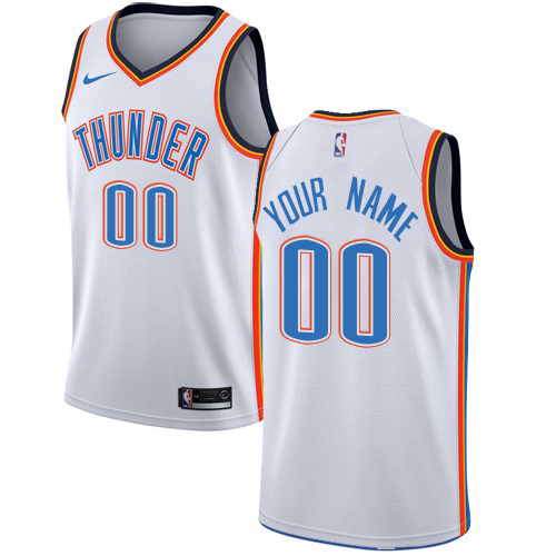Men's Nike Oklahoma City Thunder Customized Swingman White Home NBA Jersey - Association Edition