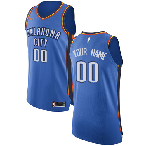 Men's Nike Oklahoma City Thunder Customized Authentic Royal Blue Road NBA Jersey - Icon Edition