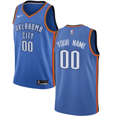 Men's Nike Oklahoma City Thunder Customized Swingman Royal Blue Road NBA Jersey - Icon Edition