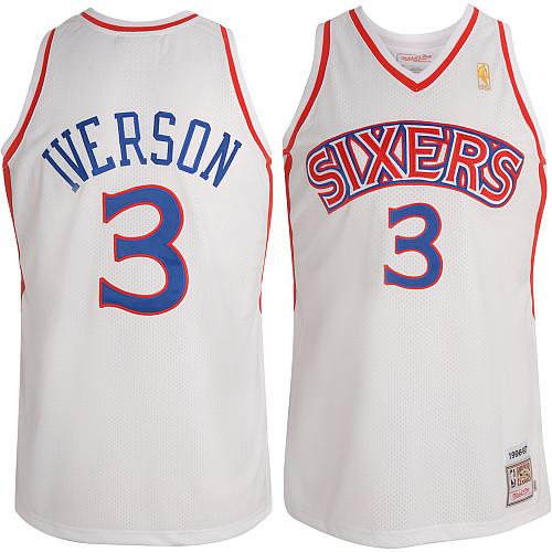Men's Mitchell and Ness Philadelphia 76ers #3 Allen Iverson Swingman White Throwback NBA Jersey