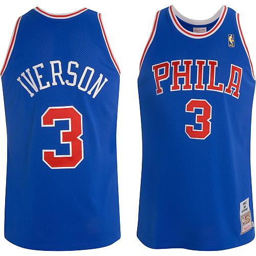 Men's Mitchell and Ness Philadelphia 76ers #3 Allen Iverson Authentic Blue Throwback NBA Jersey