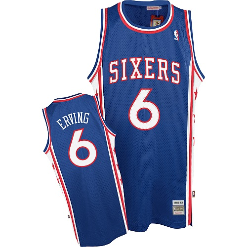 Men's Mitchell and Ness Philadelphia 76ers #6 Julius Erving Swingman Blue Throwback NBA Jersey