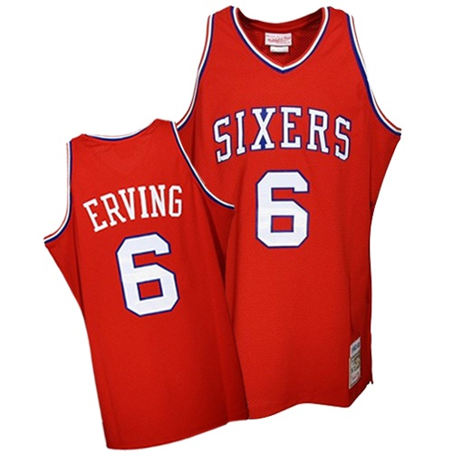 Men's Mitchell and Ness Philadelphia 76ers #6 Julius Erving Authentic Red Throwback NBA Jersey