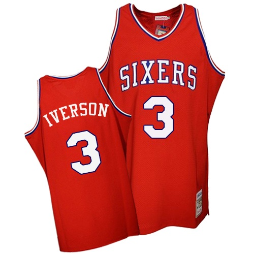 Men's Mitchell and Ness Philadelphia 76ers #3 Allen Iverson Swingman Red Throwback NBA Jersey