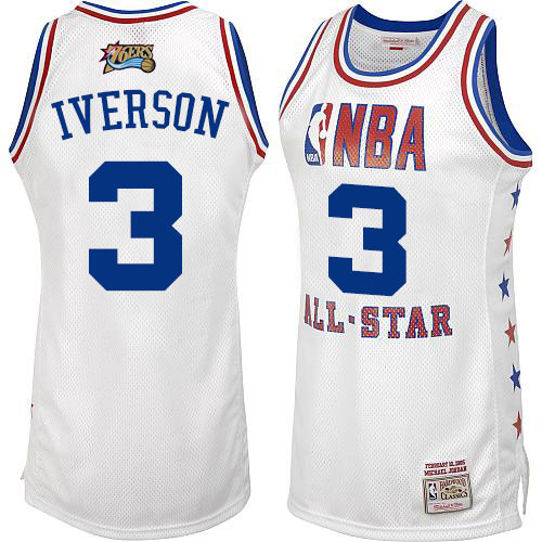 Men's Mitchell and Ness Philadelphia 76ers #3 Allen Iverson Swingman White 2003 All Star Throwback NBA Jersey