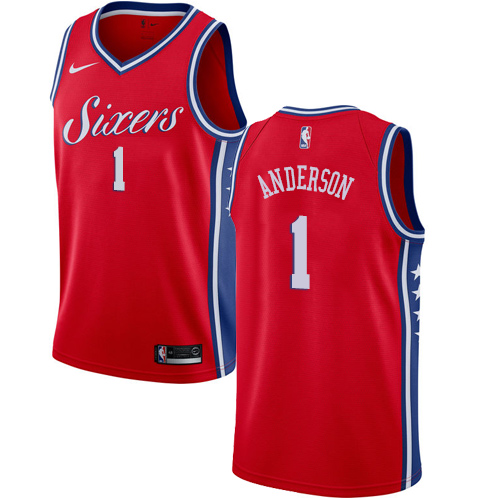 Men's Nike Philadelphia 76ers #1 Justin Anderson Authentic Red Alternate NBA Jersey Statement Edition