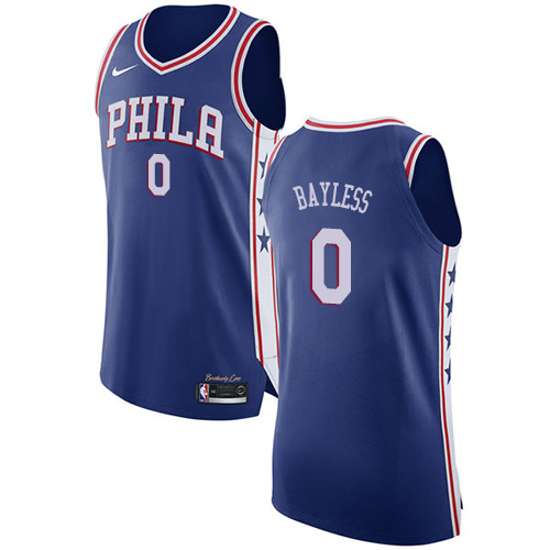 Men's Nike Philadelphia 76ers #0 Jerryd Bayless Authentic Blue Road NBA Jersey - Icon Edition