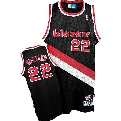 Men's Adidas Portland Trail Blazers #22 Clyde Drexler Authentic Black Throwback NBA Jersey