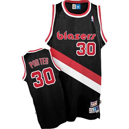 Men's Adidas Portland Trail Blazers #30 Terry Porter Authentic Black Throwback NBA Jersey