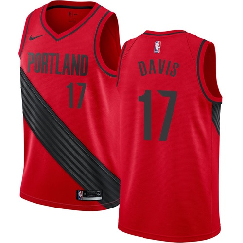 Men's Nike Portland Trail Blazers #17 Ed Davis Authentic Red Alternate NBA Jersey Statement Edition