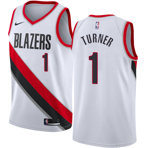 Men's Nike Portland Trail Blazers #1 Evan Turner Authentic White Home NBA Jersey - Association Edition