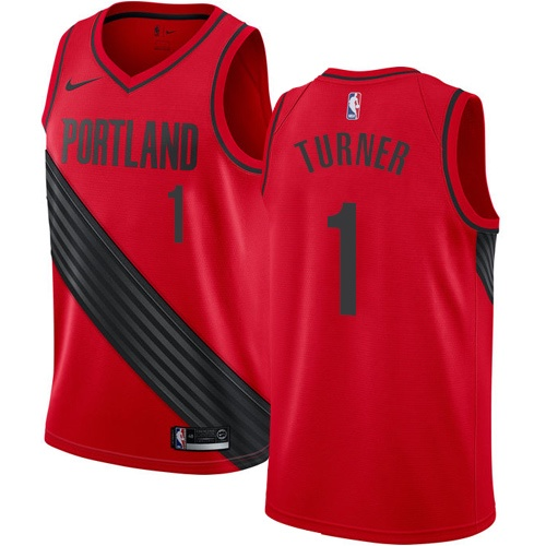 Men's Nike Portland Trail Blazers #1 Evan Turner Authentic Red Alternate NBA Jersey Statement Edition