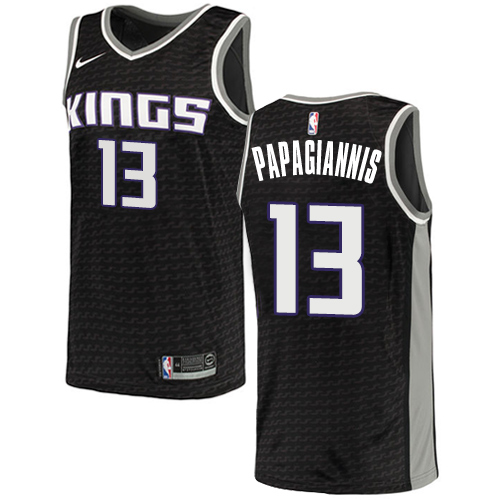 Men's Adidas Sacramento Kings #13 Georgios Papagiannis Authentic Black NBA Jersey Statement Edition
