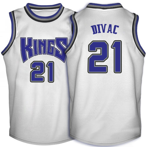 Men's Adidas Sacramento Kings #21 Vlade Divac Authentic White Throwback NBA Jersey