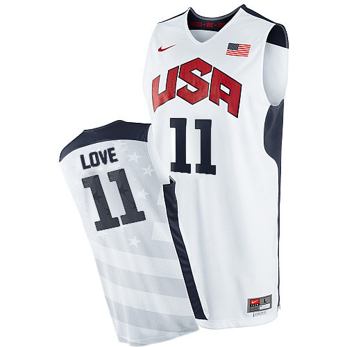 Men's Nike Team USA #11 Kevin Love Authentic White 2012 Olympics Basketball Jersey