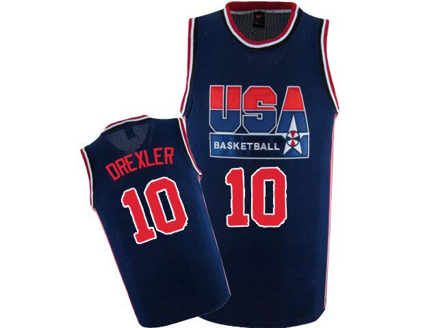 Men's Nike Team USA #10 Clyde Drexler Authentic Navy Blue 2012 Olympic Retro Basketball Jersey