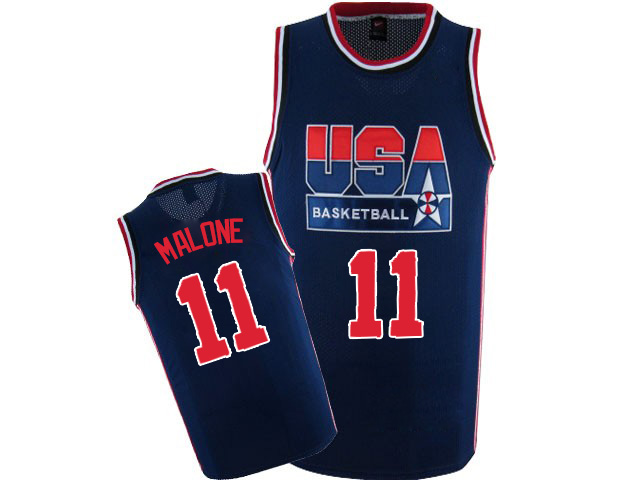 Men's Nike Team USA #11 Karl Malone Authentic Navy Blue 2012 Olympic Retro Basketball Jersey