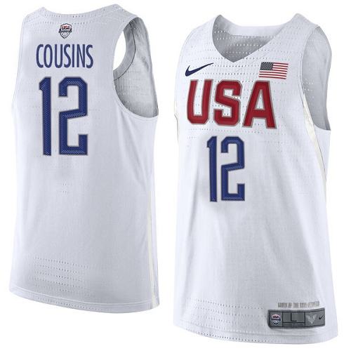 Men's Nike Team USA #12 DeMarcus Cousins Authentic White 2016 Olympics Basketball Jersey