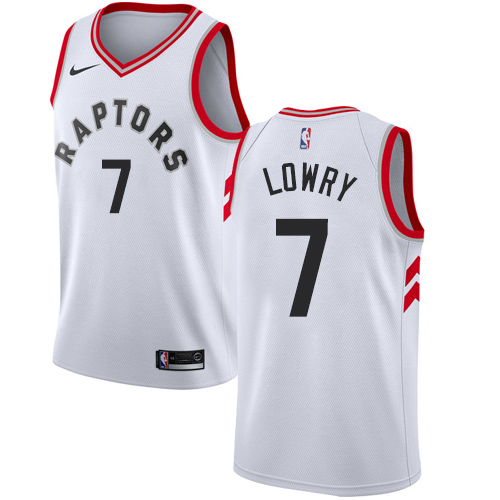 Men's Adidas Toronto Raptors #7 Kyle Lowry Authentic White Home NBA Jersey