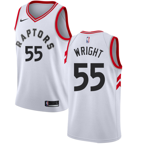 Men's Adidas Toronto Raptors #55 Delon Wright Authentic White Home NBA Jersey