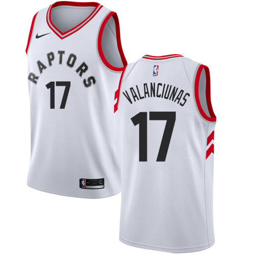 Men's Adidas Toronto Raptors #17 Jonas Valanciunas Authentic White Home NBA Jersey