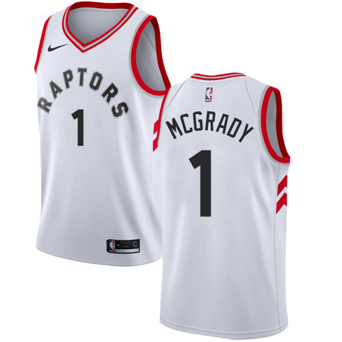 Men's Adidas Toronto Raptors #1 Tracy Mcgrady Authentic White Home NBA Jersey