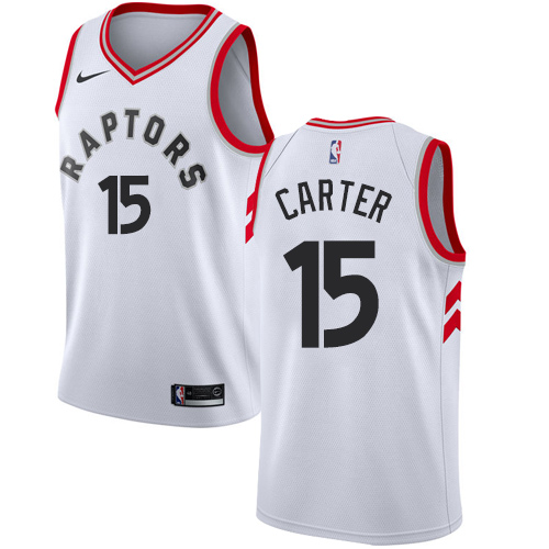 Men's Adidas Toronto Raptors #15 Vince Carter Authentic White Home NBA Jersey