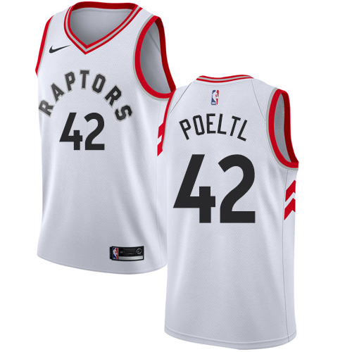 Men's Adidas Toronto Raptors #42 Jakob Poeltl Authentic White Home NBA Jersey
