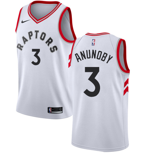 Men's Adidas Toronto Raptors #3 OG Anunoby Authentic White Home NBA Jersey