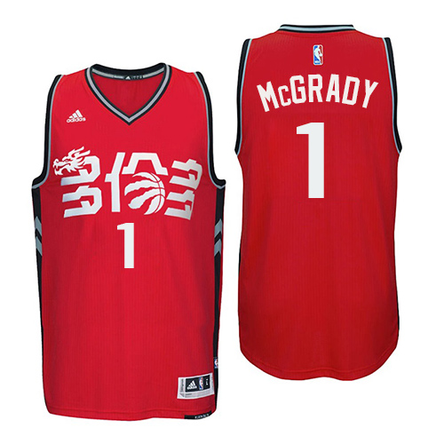 Men's Adidas Toronto Raptors #1 Tracy Mcgrady Authentic Red Chinese New Year NBA Jersey