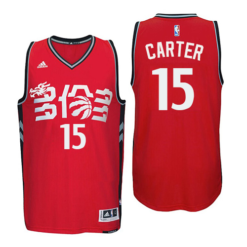 Men's Adidas Toronto Raptors #15 Vince Carter Authentic Red Chinese New Year NBA Jersey