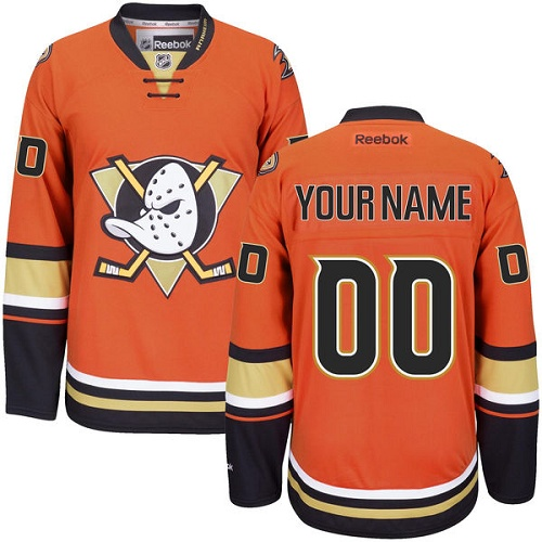 Men's Reebok Anaheim Ducks Customized Authentic Orange Third NHL Jersey