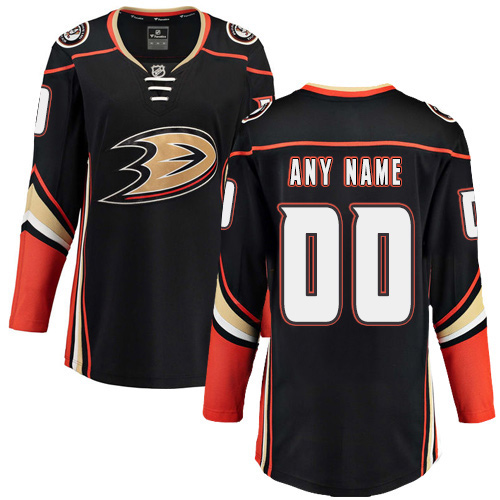 Women's Anaheim Ducks Customized Authentic Black Home Fanatics Branded Breakaway NHL Jersey