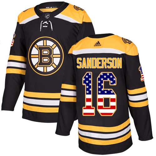 Men's Adidas Boston Bruins #16 Derek Sanderson Authentic Black USA Flag Fashion NHL Jersey
