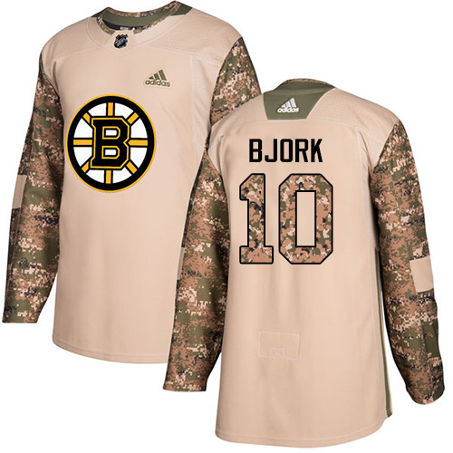 Men's Adidas Boston Bruins #10 Anders Bjork Authentic Camo Veterans Day Practice NHL Jersey
